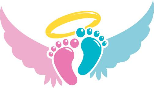 footprints with wings and halo