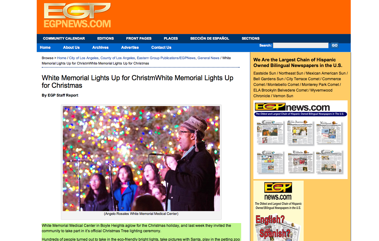 screenshot of egpnews.com web page showing white memorial article