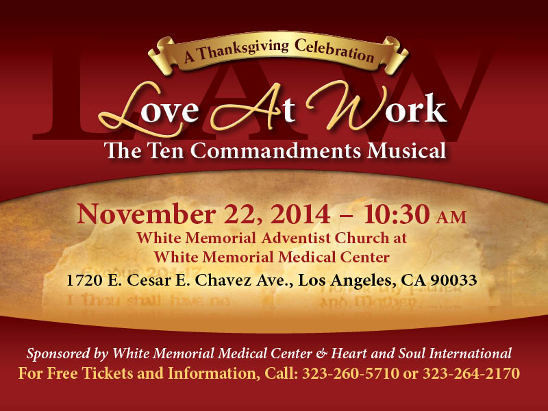 love at work: the ten commandments musical flyer