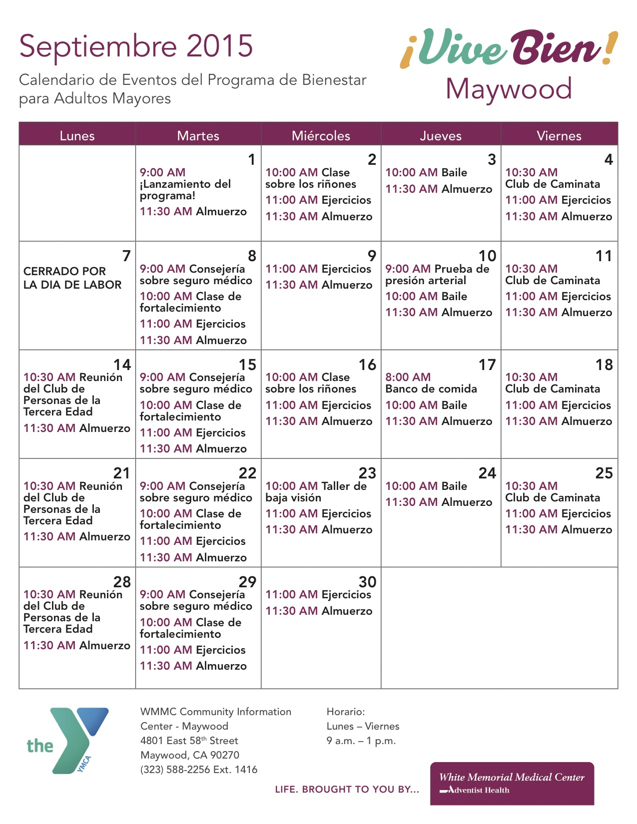 september 2015 spanish vive bien events calendar