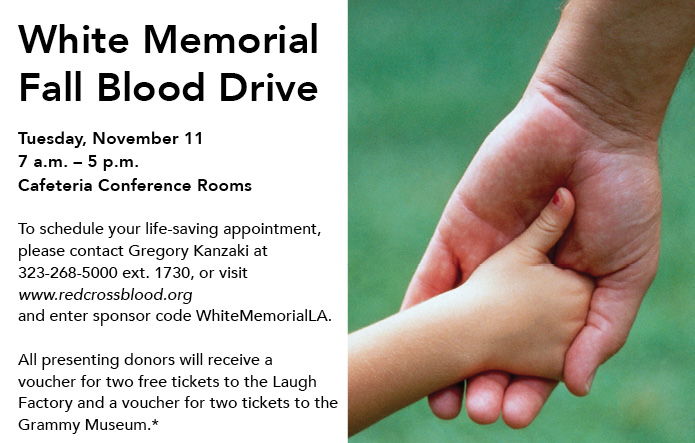 white memorial fall blood drive flyer