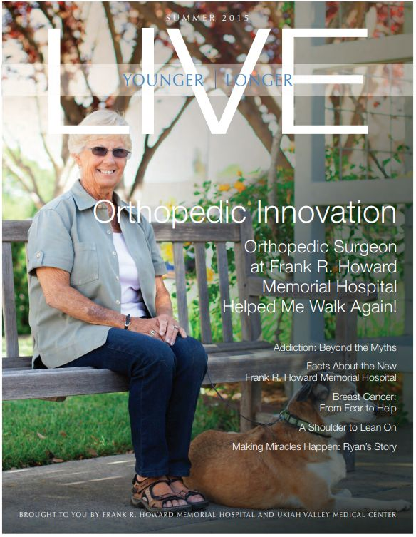 LIVE Younger Longer Orthopedic Innovation publication cover of older woman sitting on park bench smiling