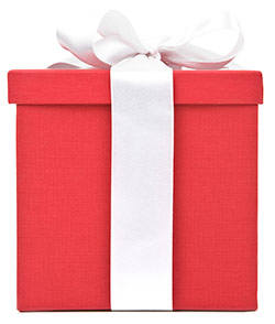 red gift box with a white bow