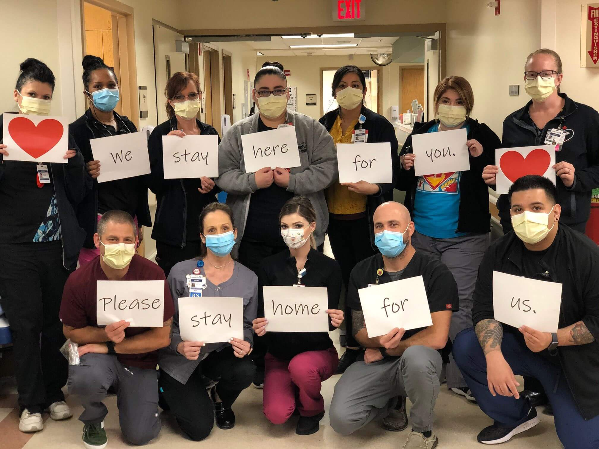 health care workers asking everyone to stay home
