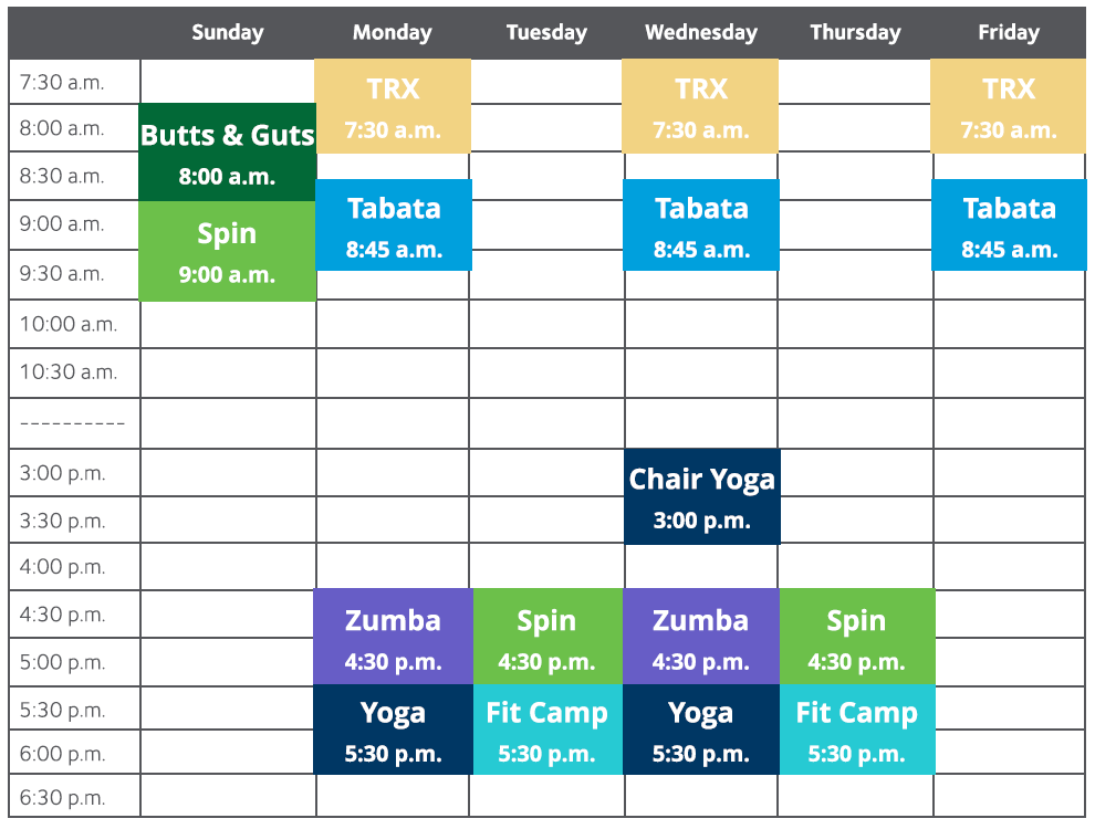 Fitness Center Schedule. Learn more about the classes listed below or call 209-536-5096.
