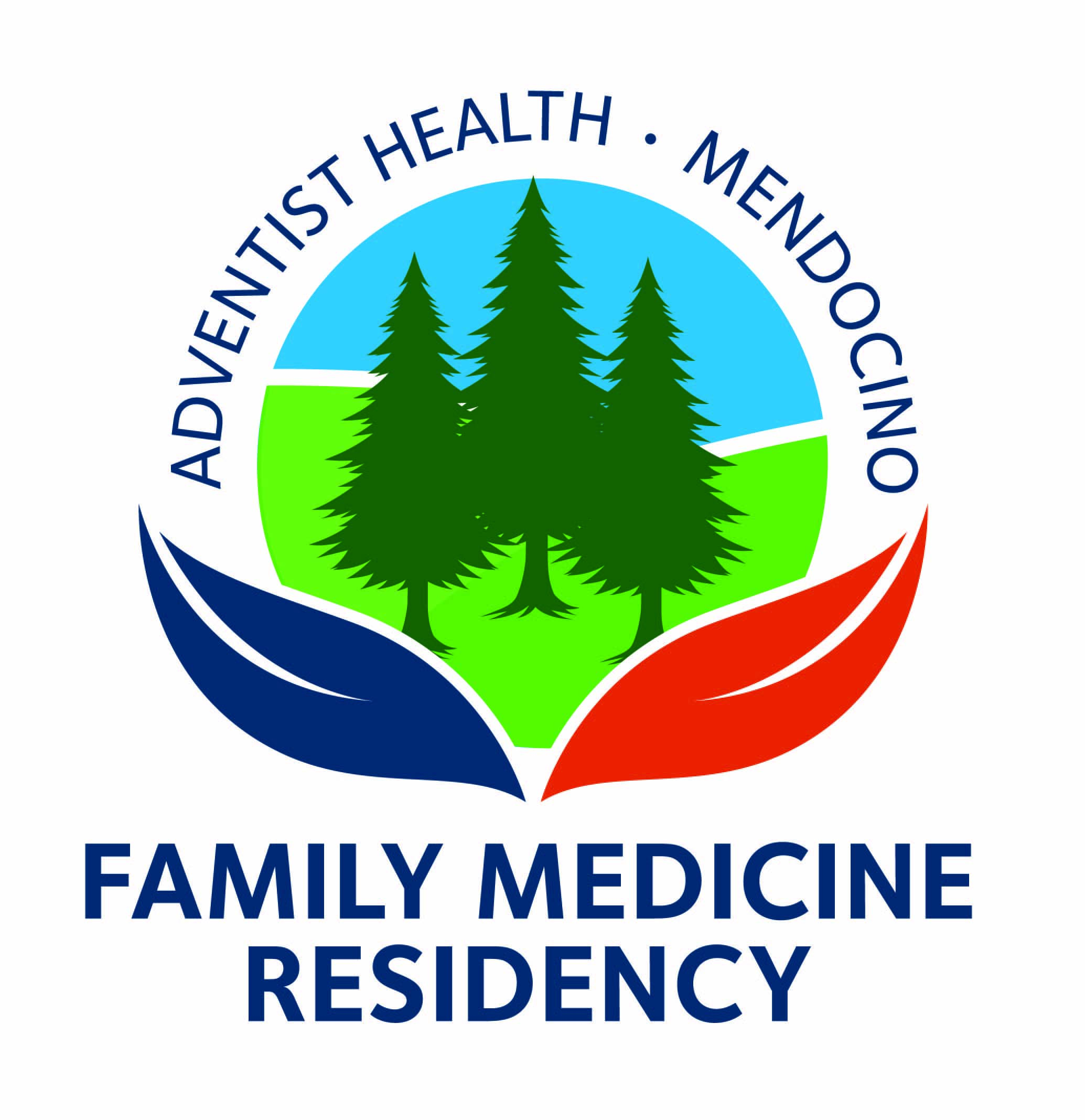 Adventist Health Ukiah Valley Family Medicine Residency logo with three trees framed by two leaves beneath them